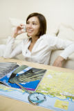 Young woman. Attractive young woman speaks by phone Stock Photos