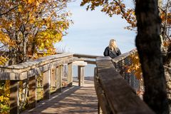 Free Young Woman 30-35 Traveler Enjoys The Overlook On The Boardwalk At Porcupine Mountains Wilderness State Park In Michigan Royalty Free Stock Image - 162688916