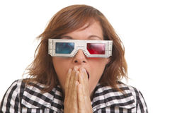 Young woman with 3D glasses Stock Photography
