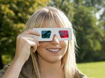 Young woman with 3D glasses Royalty Free Stock Image