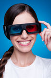 Young woman in 3d glasses Royalty Free Stock Images