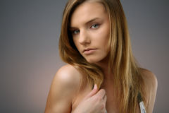 Young woman. Head shot of young woman with long hair Stock Photography