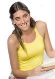 Young woman in yellow top Royalty Free Stock Photos