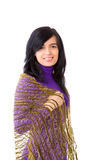 Young woman. Oman wearing dress and scarf isolated Royalty Free Stock Images