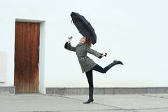 Young woman. Beautiful young woman with umbrella royalty free stock photos