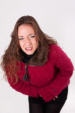 Young woman with abdominal pain Stock Photography