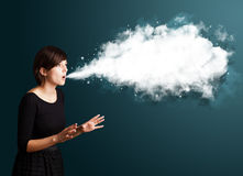 Young woman with abstract cloud Stock Photo
