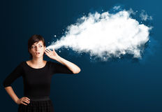 Young woman with abstract cloud Stock Image