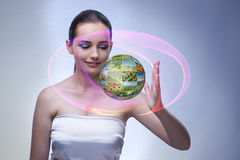The young woman in abstract concept with nature photos Royalty Free Stock Photos