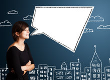 Young woman with abstract modern speech bubble Royalty Free Stock Photos