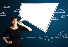 Young woman with abstract modern speech bubble Stock Photos