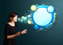 Young woman with abstract modern speech bubble Royalty Free Stock Photo