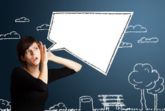 Young woman with abstract modern speech bubble Royalty Free Stock Photography