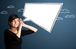 Young woman with abstract modern speech bubble Royalty Free Stock Images