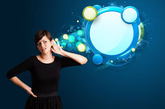 Young woman with abstract modern speech bubble Stock Photo