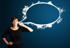 Young woman with abstract modern speech bubble Stock Images