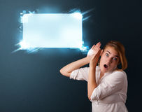 Young woman with abstract modern speech bubble Stock Photography