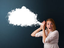 Young woman with abstract modern speech bubble Stock Image