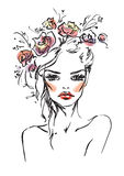 Young woman. With accessories in hair Royalty Free Illustration