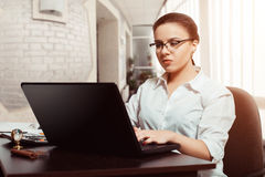 Young woman accountant at workplace concept Stock Images