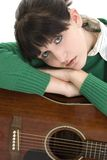 Young Woman with Acoustic Guitar Royalty Free Stock Image