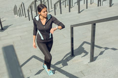 Young woman active exercise workout on street outdoor Stock Photography