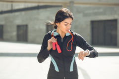 Young woman active exercise workout on street outdoor Royalty Free Stock Photography