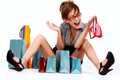 Young woman admiring her shopping Stock Image
