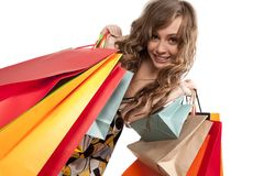 Young woman admiring her shopping Royalty Free Stock Images