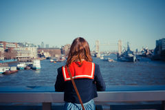 Young woman admiring London skyline Royalty Free Stock Photography