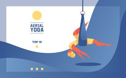 Young woman in aerial yoga in hammock or silk. Flat modern illustration concept good for banners or acrobatic school landing page vector illustration