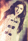 Young woman with aggression shouting out. Royalty Free Stock Photos
