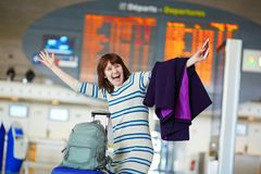 Young woman at the airport Royalty Free Stock Photos