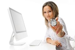 Young woman with alarm clock Royalty Free Stock Photography