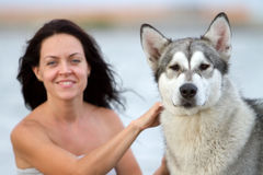 Young woman with alaskan malamute dog Royalty Free Stock Photos
