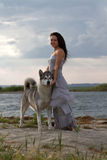 Young woman with alaskan malamute dog Stock Photography