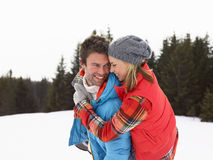 Young Woman  In Alpine Snow Scene Royalty Free Stock Photos
