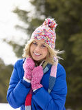Young Woman  In Alpine Snow Scene Royalty Free Stock Image