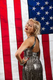 Young Woman And American Flag Stock Photos