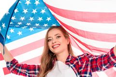 Young woman with american flag royalty free stock photography
