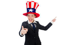 Young woman with american symbols Royalty Free Stock Photos