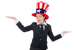 Young woman with american symbols Royalty Free Stock Photography