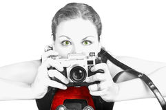 Young woman with ancient camera Royalty Free Stock Image