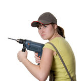 Young Woman And Drill Royalty Free Stock Photos