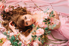 Free Young Woman And Many Flowers Stock Photo - 91803070