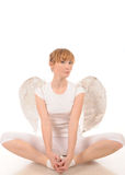 Young woman with angel wings Stock Photo