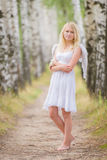 Young woman with angel wings on the back Royalty Free Stock Images