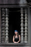Young woman in Angkor Wat Stock Image