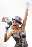 Young woman annoncing. Young woman that make a public speech with a megaphone Stock Photo
