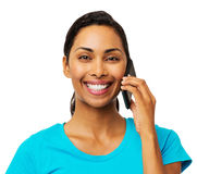 Young Woman Answering Smart Phone Royalty Free Stock Photos